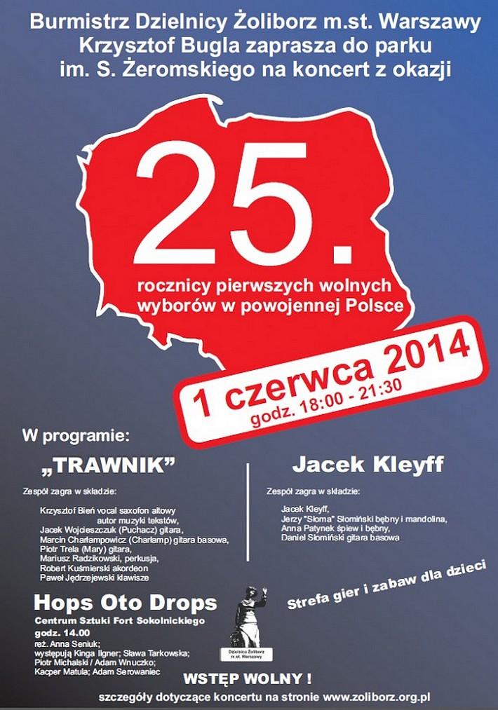 Koncert w Parku Żeromskiego z okazji 25. rocznicy pierwszych wolnych wyborów w Polsce
