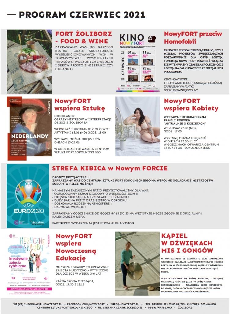Program wydarzeń czerwiec 2021 w Centrum Sztuki Fort Sokolnickiego